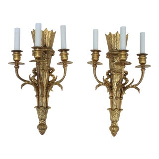 1950s French Gilt Brass Sconces - A Pair For Sale