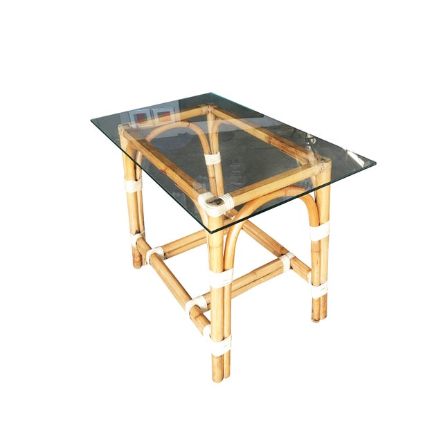 """Restored """"Swoop Arch"""" Rattan Side Table With Glass Top For Sale In Los Angeles - Image 6 of 6"""