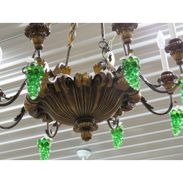 Italian Italian Tole and Crystal Chandelier For Sale - Image 3 of 8