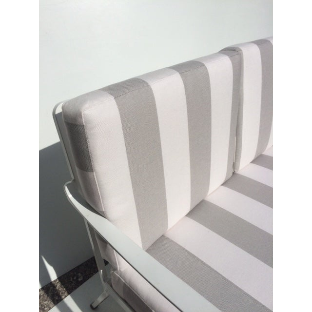 Gray Metal Garden Sofa With Sunbrella Cushions For Sale - Image 8 of 13