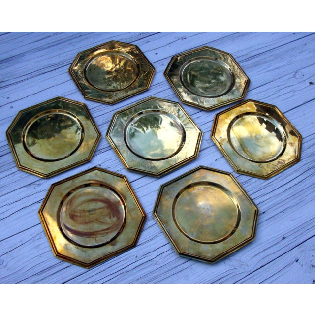 Vintage Solid Brass Hexagon Charger Plates - 6 - Image 4 of 7