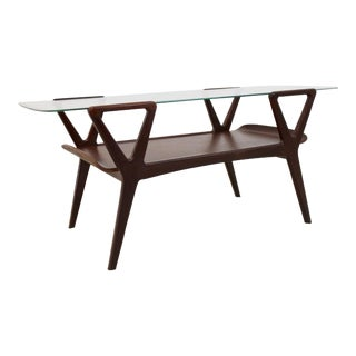 Graphic Scandinavian Teak Coffee Table With Glass Top, 1960s For Sale