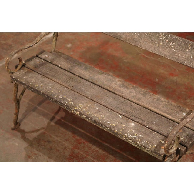 19th Century French Weathered Iron and Wood Outdoor Garden Bench For Sale - Image 4 of 9