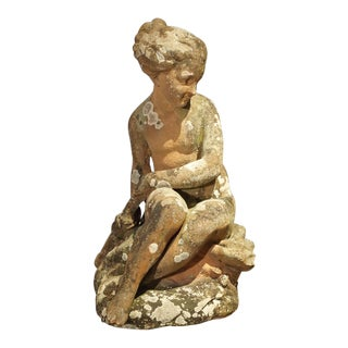18th Century French Terra Cotta Statue of a Girl For Sale