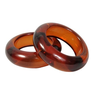 Pair of Rootbeer Colored Lucite Bangle Bracelets For Sale