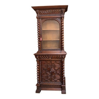 19th Century French Carved Oak Barley Twist Display Bookcase Cabinet Renaissance For Sale