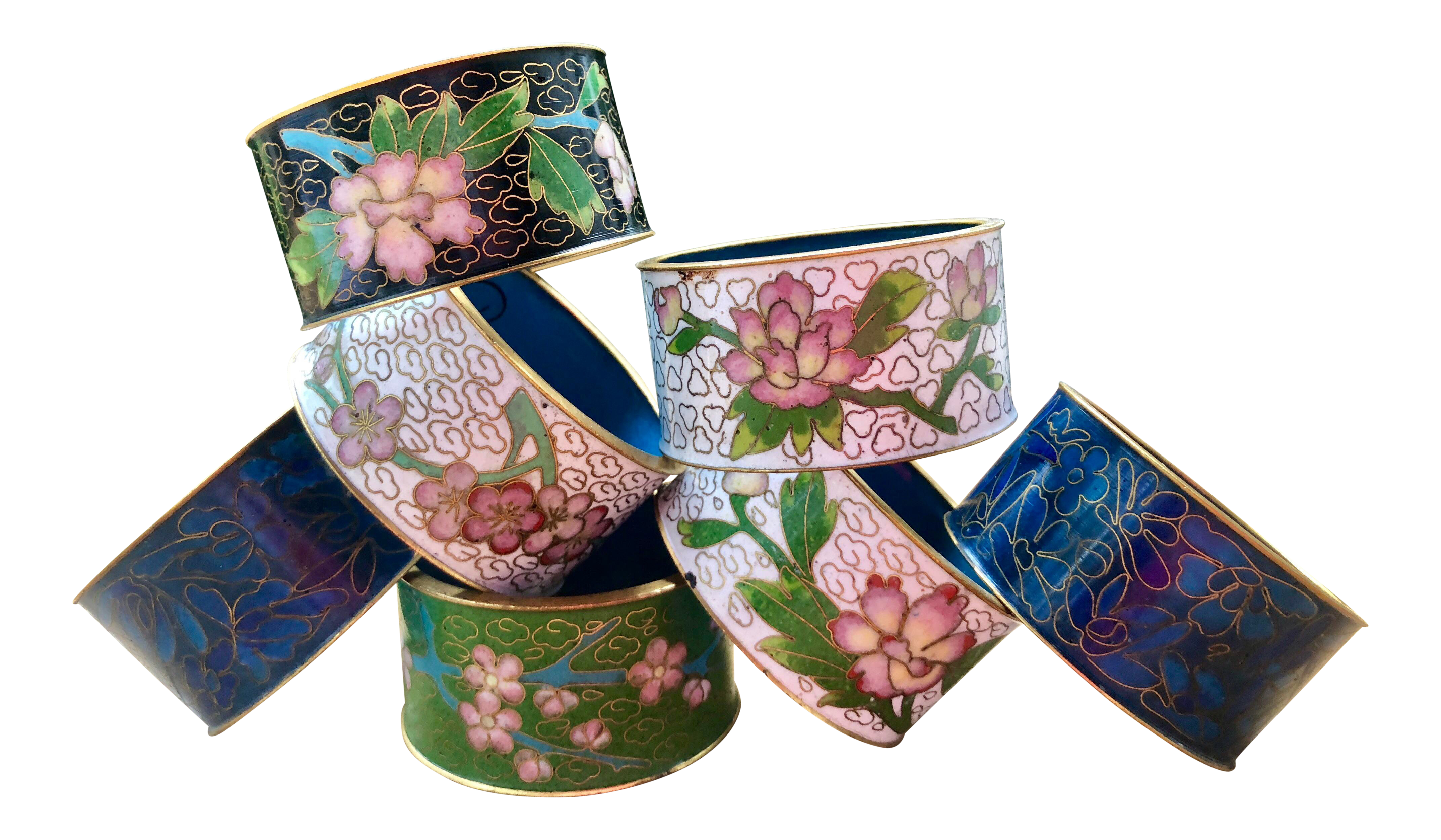 Chinese Floral Enamel and Brass Cloisonné Napkin Rings Set of 7