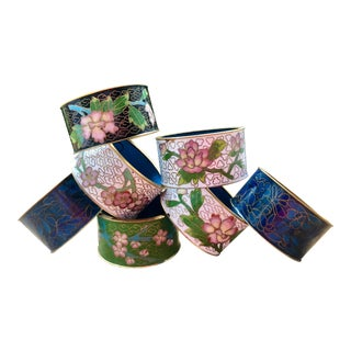 Chinese Floral Enamel and Brass Cloisonné Napkin Rings - Set of 7 For Sale