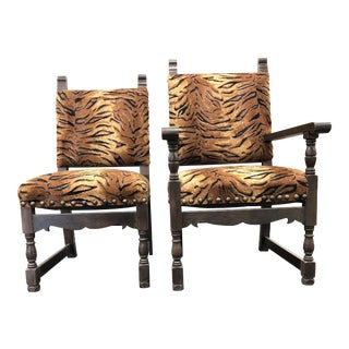 His & Hers Antique Tiger Chairs - a Pair For Sale