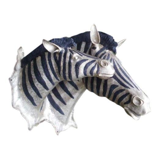 Cast Bronze Zebra Heads - A Pair For Sale