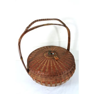 Old Chinese Bamboo & Cane Luck & Longevity Finely Woven Lidded Basket Preview