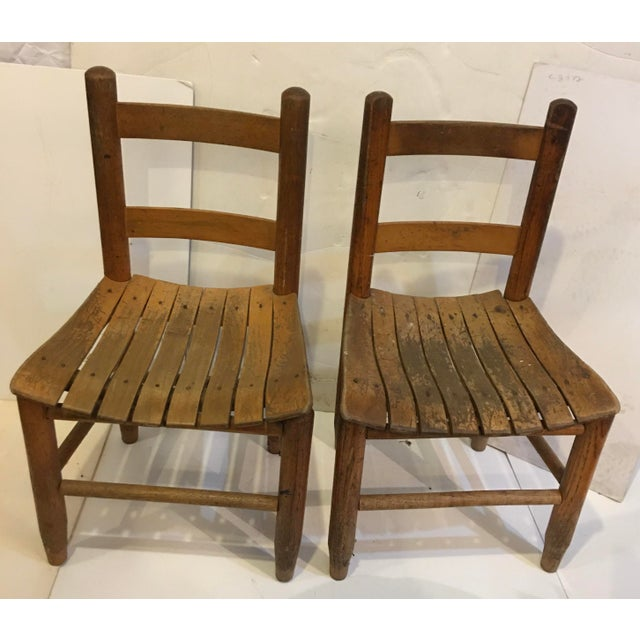 Boho Chic Vintage Rustic Children Chairs - a Pair For Sale - Image 3 of 8