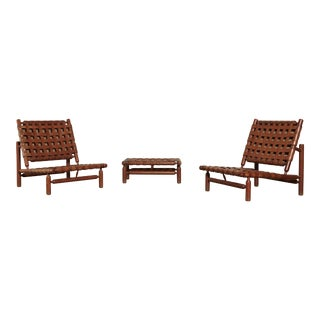 1950s Vintage Ilmari Tapiovaara Chairs and Ottoman- 3 Pieces For Sale
