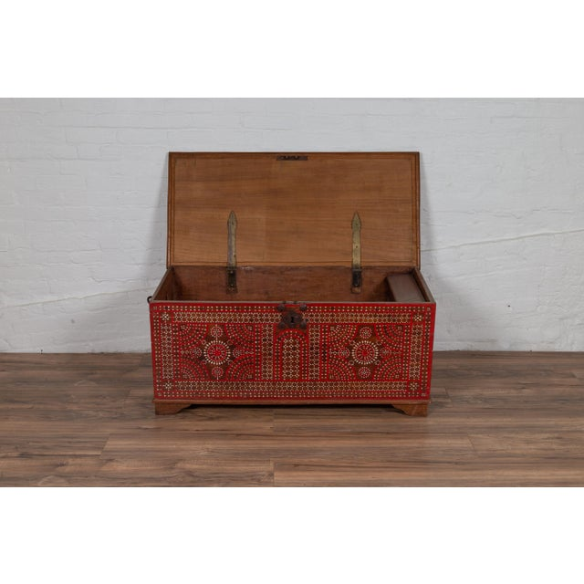 Antique Madura Blanket Chest With Inlaid Mother-Of-Pearl Red Geometric Decor For Sale In New York - Image 6 of 13