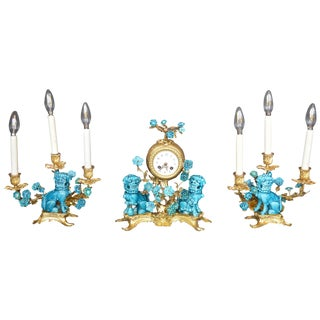 Rococo Chinosoiserie Style Three Piece Gilt Bronze and Porcelain Clock Garniture For Sale