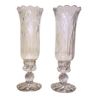 Royal Unlimited Lead Crystal Hurricane Lamps - A Pair