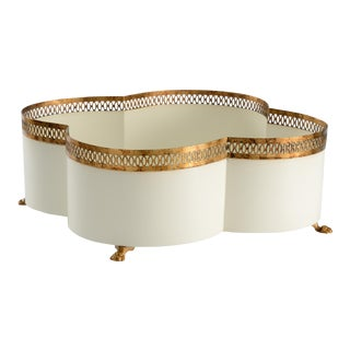 Contemporary Tracery Cream Cachepot For Sale