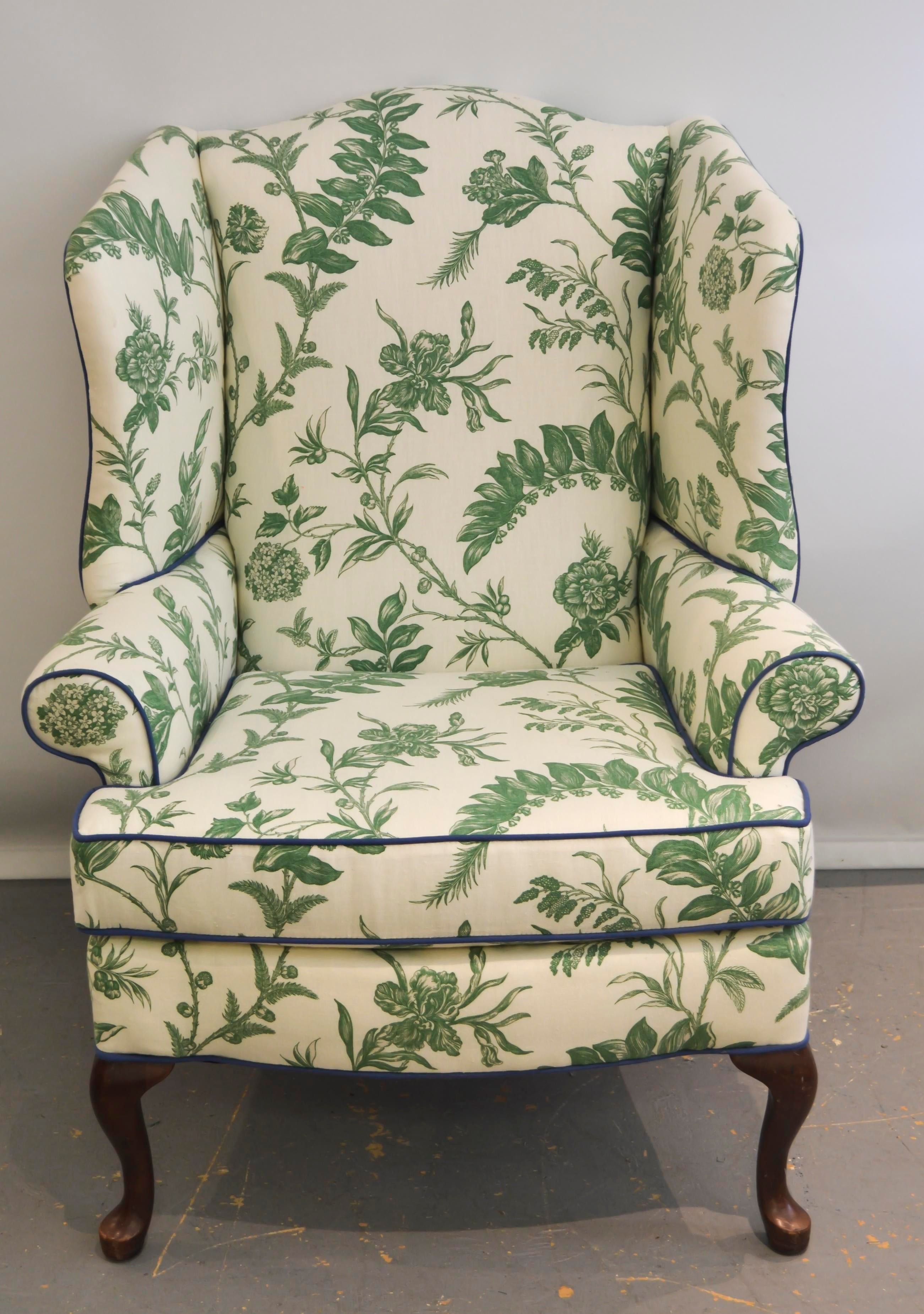 Ordinaire Vintage Robert Allen Williamsburg Wingback Chair   Image 2 Of 5