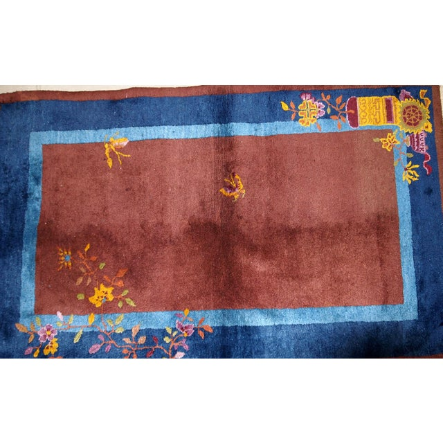 Early 20th Century 1920s Handmade Antique Art Deco Chinese Rug 3' X 4.11' For Sale - Image 5 of 13