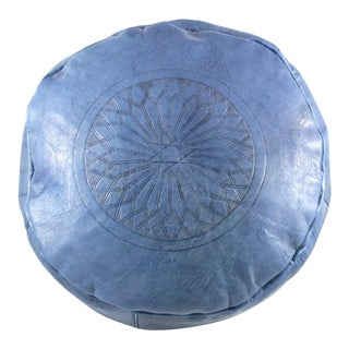 Modern Blue Leather Moroccan Pouf Ottoman For Sale