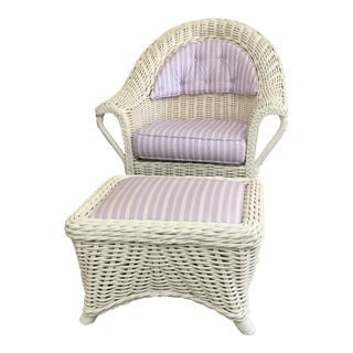 Wicker Cottage Chair & Ottoman For Sale