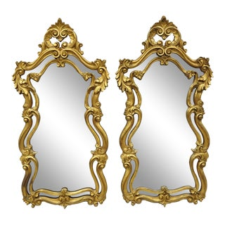 French Rococo Style Gold Console Wall Mirrors - a Pair For Sale