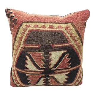 1960s Vintage Turkish Kilim Rug Pillow Cover For Sale