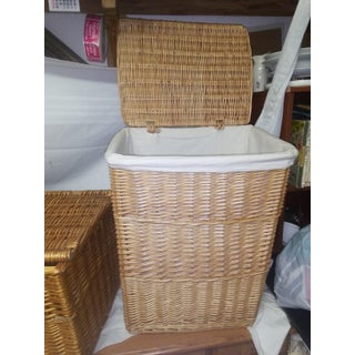 Vintage Lidded Wicker Boxes - a Pair Preview