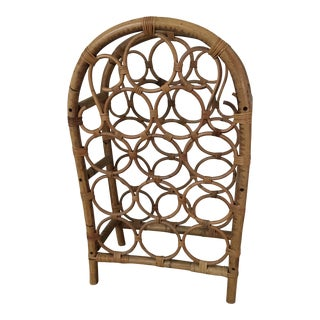 Vintage 1970's Boho Chic Burnt Bamboo 12 Bottle Wine Rack For Sale