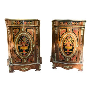 French Louis XV Style Marquetry Side Chests - a Pair For Sale