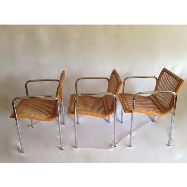 Chrome Dining Chairs with Caning - Set of 6 - Image 4 of 8