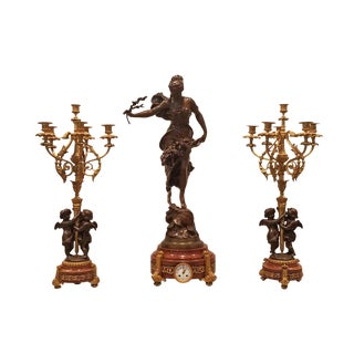 19th Century Antique French Sculptural Clock and Bronze Candelabra Garniture - 3 Pieces For Sale