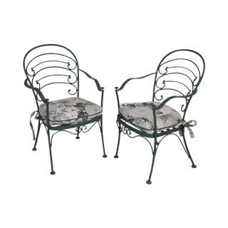 Woodard Vintage Wrought Iron Pair of Patio Side Chairs For Sale