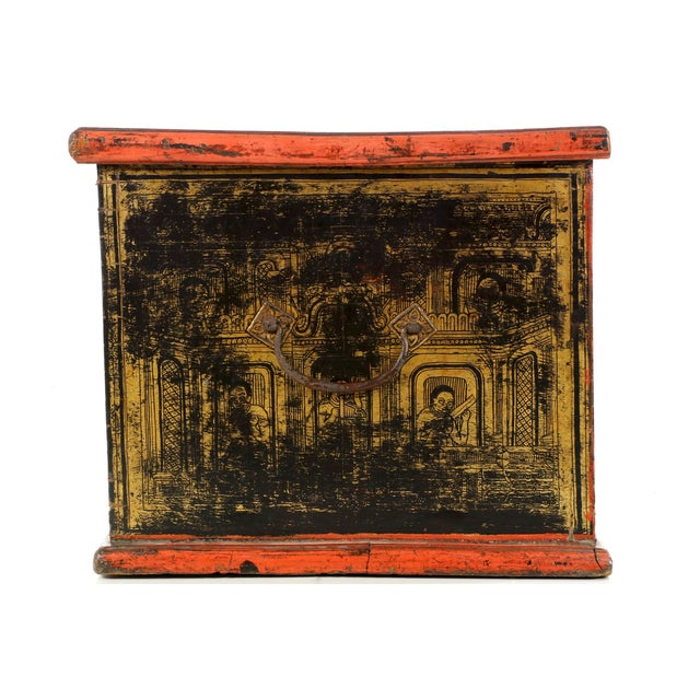 Antique Chinese Red and Gold Blanket Chest, 19th C - Image 6 of 10