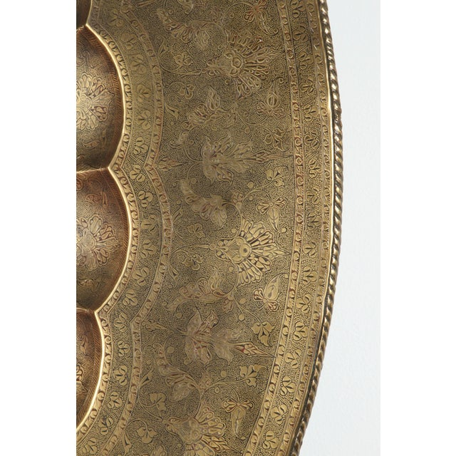 Early 20th Century Monumental Anglo-Indian Brass Hanging Tray Platter For Sale - Image 9 of 13