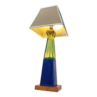 Handcrafted Colbalt Blue Ceramic and Lime Green Glass Table Lamp For Sale