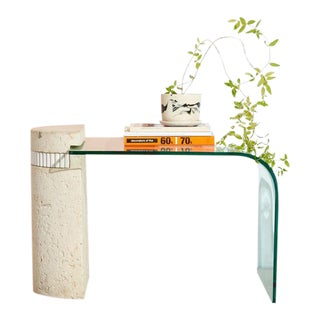 Stone and Glass Waterfall Side Table For Sale