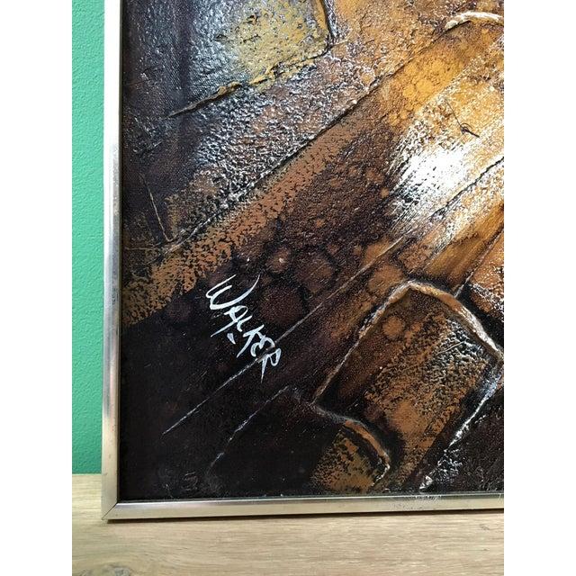 1960s Brutalist Sunburst Painting Signed Walker For Sale - Image 4 of 7