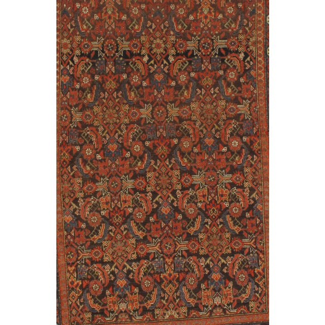 Original Persian Antique Malayer Lamb's Wool on a Cotton Foundation Hand-Spun Wool Rug Vegetable Dyed Circa 1900 This rug...