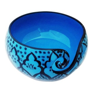 Boho Chic Handcrafted Greek Blue Ceramic Knitting Yarn Bowl Holder For Sale