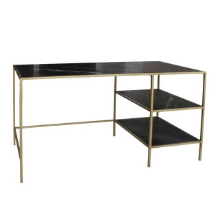 Black Marble & Brass Desk For Sale