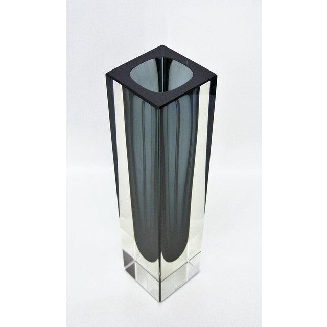 Italian Mandruzzato Murano Mid-Century Modern Gray Glass Vase MCM - Image 3 of 11