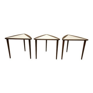Mid Century Modern Walnut Guitar Pick Nesting Side Tables - Set of 3