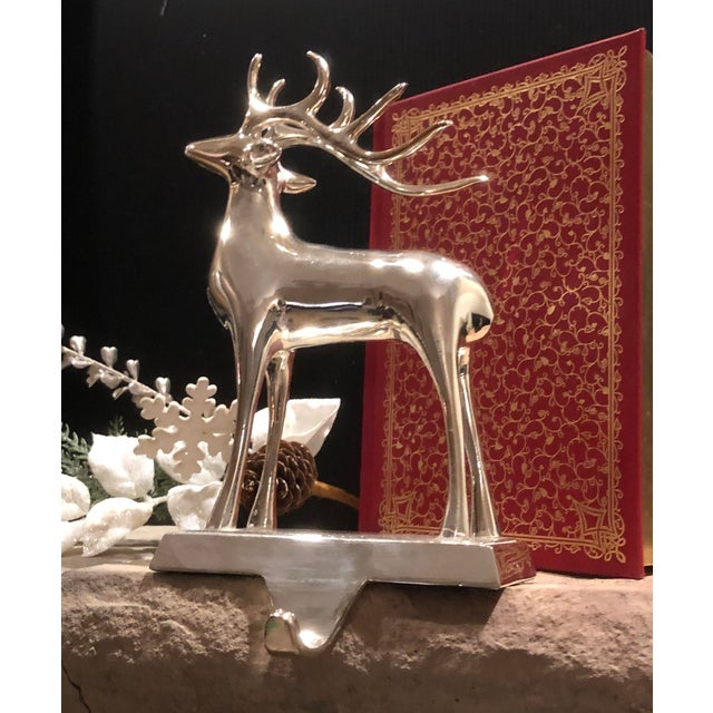 Late 20th Century Vintage Solid Reindeer Stocking Hooks Silver Plated Pair For Sale - Image 5 of 10