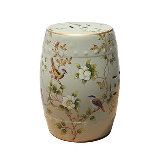Handmade Pale Celadon Green Porcelain Bird Flower Round Stool Ottoman For Sale