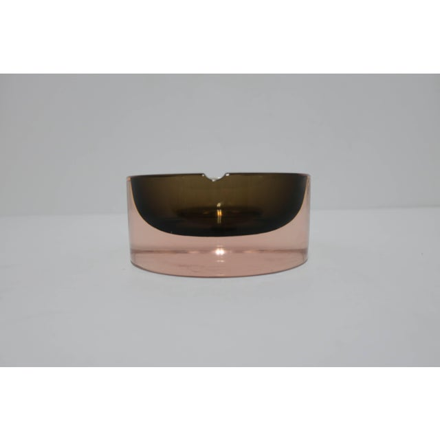 Glass Modern Italian Murano Pink and Grey Sommerso Art Glass Bowl or Ashtray For Sale - Image 7 of 12