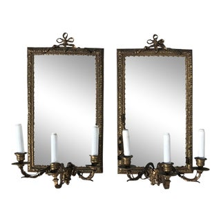 Bronze Mirrored Sconces, 1900s - A Pair