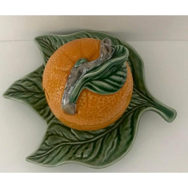 Bordallo Pinheiro Bordallo Pinheiro Majolica Orange Marmalade Jar With Green Leaf Under Plate For Sale - Image 4 of 9
