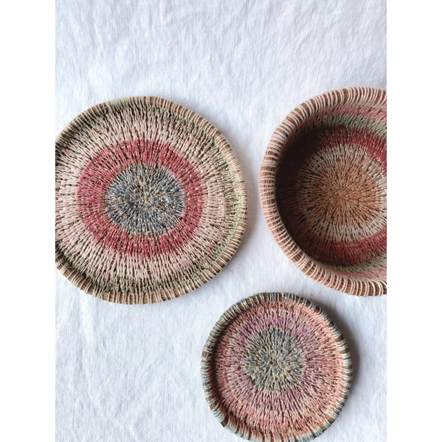 Primitive Woven Pine Needle Basket Trio - Set of 3 For Sale - Image 4 of 8
