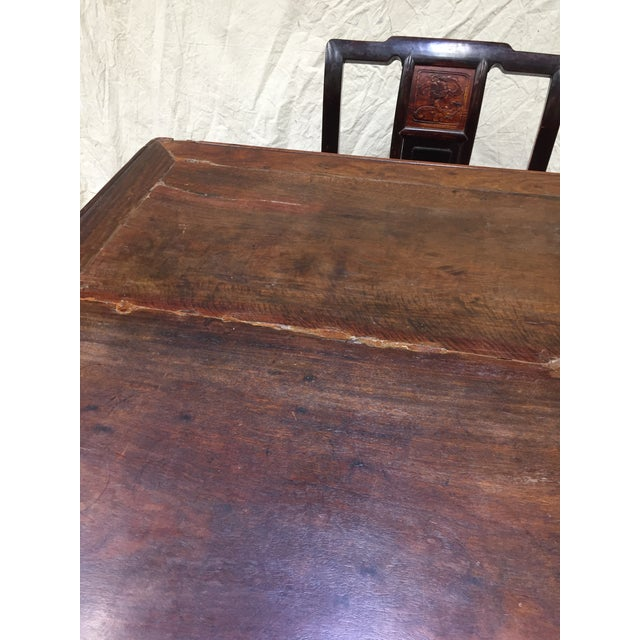 Late 19th Century Late 19th Century Antique Chinese Gaming Table & Chairs- 5 Pieces For Sale - Image 5 of 13